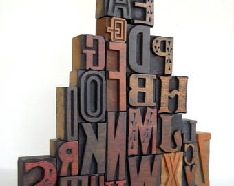 25% OFF -A to Z - Vintage Letterpress Wood Type Collection -VG04