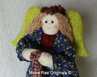 "Christmas Angel Art Doll ~ Ella 12"" Tall ~ Table or Tree Topper Christmas Angel ~ Blue, Green Red Angel"
