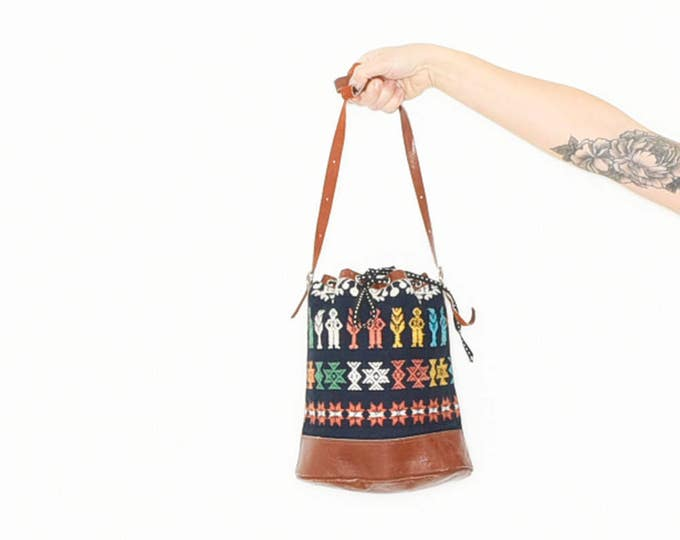 Featured listing image: Ethnic Ethnic Textile Bag, Leather and Textile Bucket Bag