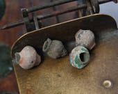 RESERVED for A... Set of 4 antique brass beads, balls, findings