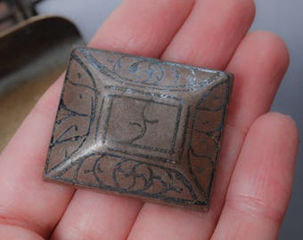 Antique solid brass connector, finding, pendant. Original dark patina.