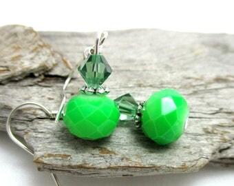 Swarovski Crystal Drop Earrings - Lime Green Crystal Drop Earrings - Earrings for Sensitive Ears