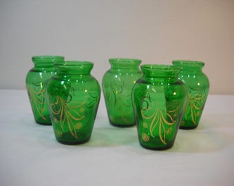 "Lot Of 5 Vintage 3/34"" Tall Green Vase With Gold Trim From Estate Sale"