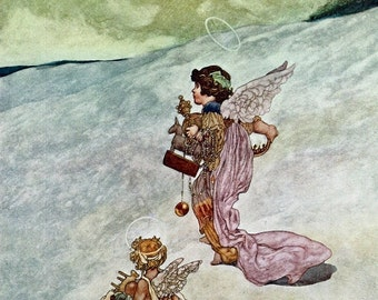 20% OFF Winter Print by Charles Robinson, Angels, Cherubs, Vintage 1976 Children's Fairy Tale 8.75x11.75 Bookplate Art, FREE SHIPPING