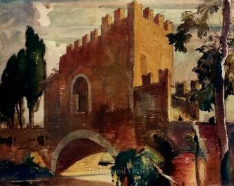 Rome Italy Ponte Nomentano Bridge Print by Frank Brangwyn, War Bridge, Antique 7x10 Watercolor Bookplate Art c1915, FREE SHIPPING
