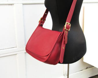Vintage Coach Bag // Red Leather Saddle Bag // Patricia's Legacy // Coach Cross Body Bag //
