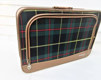 Vintage Suitcase | Tartan Plaid Luggage | Zipper Tote Bag | Plaid Bag | Overnight Bag