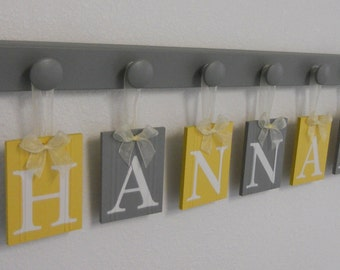 Hanging Name Letters, Baby Letters, Nursery Name Letters, Hanging Name Sign, Baby Name Sign, Hanging Wall Letters Art - Yellow Gray