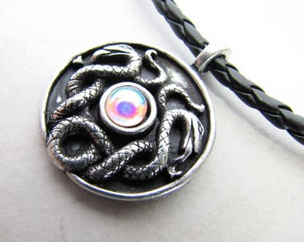Snake Necklace, Mens Necklace, Mans Necklace, Orgon  Charged, Energy Healing, Leather Necklace, Viking, Druid, Celtic, Talisman, Nathair
