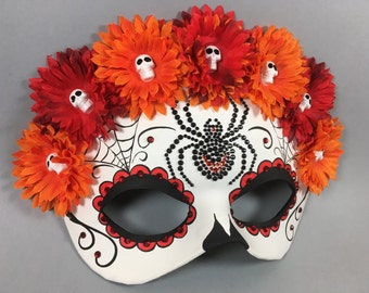 Deluxe Day of the Dead Flower Crown Spider Red, Orange, and Black Leather Masquerade Mask, OOAK