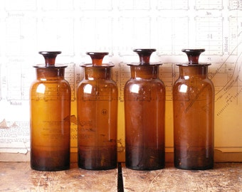 Antique Amber Apothecary Bottles with Stoppers - Salt Mouth Prescription Bottles with Pontil marks - Four Available