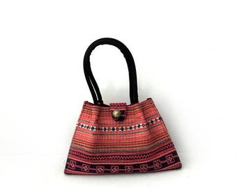 ON SALE Vintage Ethnic Thai Hmong handmade embroidery fabric tote bag, boho tote