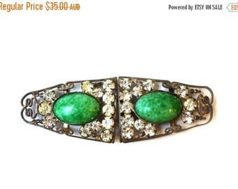 ON SALE Vintage art deco filigree rhinestone green stone cabochon silver plate belt buckle