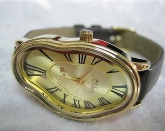 Dark Brown Leather Wrap watch, Dali Melting Time watch ,Softwatch ,bracelet watch ,vintage wrist watch Tree Leather Bracelet ,dark brown