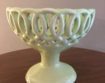 Mint Green Ceramic Stoneware Compote Pedestal Candy Dish Server