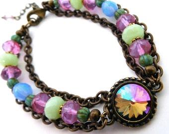 Boho bead layered bracelet, antiqued brass chain, set rhinestone, pastel Czech beads, Austrian crystal Purple Haze stone, Boho bead jewelry