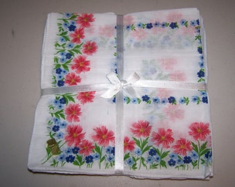 Floral handkerchiefs; 12 pack, in 3 colors; great for crafting