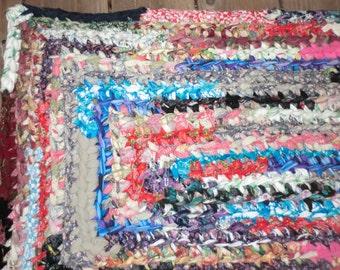 Handmade/Boho/multi colored/Crochet Rag Rug/ Shabby Chic/ Cottage Chic/Rustic Decor/Country Chic/Farmhouse/ Vintage Decor/ Floor rug