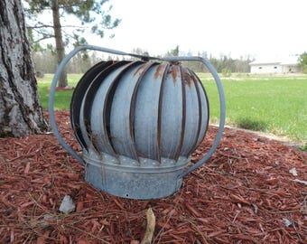 Vintage Wind Turbine Galvanized Metal Spinning Barn Vent Wind Turbine Farmhouse Style Galvinized Wind