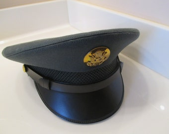 Vintage Military U.S. Army Dress Green Uniform Hat - Size 7