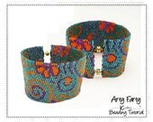2 drop Flat Peyote Cuff Charted design Beading Pattern and Instructions Delica Bead Jewelry Tutorial  Bead and word Chart pattern ARTY FARTY