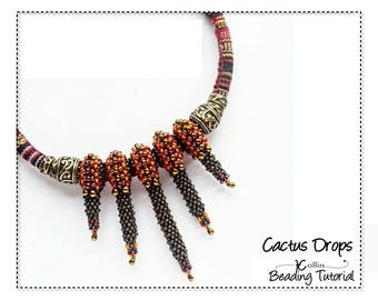 Seed bead Necklace Pattern Cubic Right Angle Weave  Slide on Beaded Spikes Beading Instructions Jewelry Tutorial PDF Pattern Download CACTUS