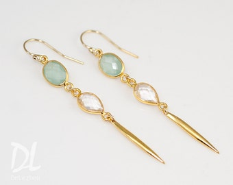 Long thin Gold Earrings - Minimal Jewelry - Aqua Blue Long Gold Dangle Earring - Spike Earrings - Needle Earrings - Modern Earrings