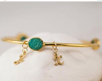 40 OFF - Personalized Charm Bangle - Amazonite Bracelet - Gemstone Bangles - Friendship Bracelet - Initial Charm Bracelets