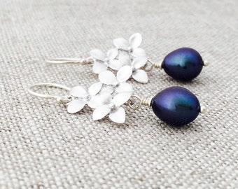 Silver Hydrangea Flower Earrings, Purple Freshwater Pearls, Sterling Silver Hoops, Wedding Jewelry