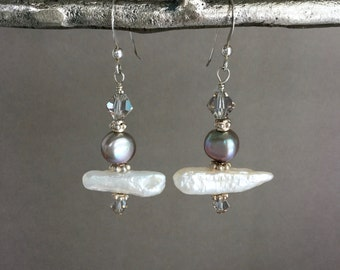 Biwa stick pearl earrings, sterling silver, bicone crystal, Asian style, bridal, everyday, Mother's day jewelry E256