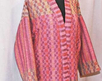 Pink checked handwoven wool kimono jacket