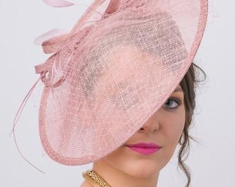 "Mauve Fascinator Hat - ""Wendy"" Wide Brimmed Mauve mesh Fascinator Hat Headband"