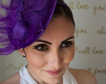 "Purple Fascinator - ""Chloe"" Purple Fascinator Hat Headband w/ purple petals"