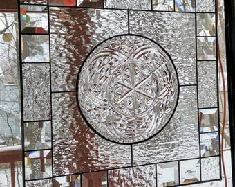 Stained glass window plate panel suncatcher clear bevels READY TO SHIP