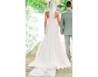 Cathedral length wedding bridal veil, 120 inch long veil, Ivory, White, Diamond