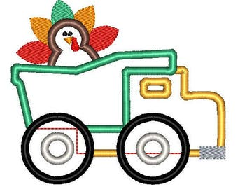 Dump Truck Turkey Thanksgiving Fall Applique Embroidery Design 5x7 6x10