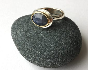 Blue Sapphire gold ring - Silver and Gold ring - size UK size O or US size 7 - alternative non-traditional engagement ring bridal jewelry