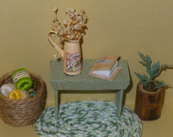 Dollhouse Miniature Bench Green Weathered