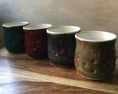 Handmade Ceramic Cups, Pottery Tumblers, Juice Cups, Ceramic Barware, Handless Mugs, Set of 4 Pottery Tumblers in Multi-Colored Glazes