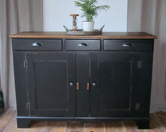Farmhouse Style Black Buffet Server~ Dresser~ Media Center~ Sideboard~Credenza~Shipping Not Included