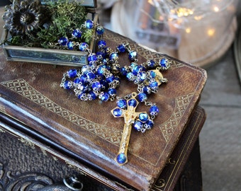 French vintage chapelet blue pearls & golden rosary 1960s chaplet cross religious catholic collection protection prayer french country