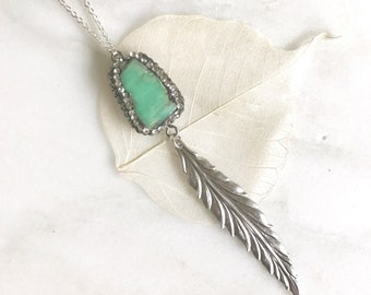 Long Silver Leaf and Turquoise Stone Necklace. Pendant Necklace. Druzy Necklace. Boho Necklace. Jewelry. Gift. Turquoise