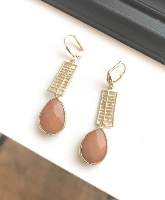 Orange Gold Teardrop Dangle Earrings.  Orange Drop Earrings. Fall Gold Dangle Earrings.  Holiday Jewelry.  Gift for Her.  Jewelry Present.