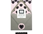 Simple Heart Love Valentines Writing Correspondence Pink Grey Black Letter Set