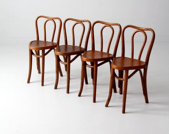 RESERVE - 1930s bentwood chairs, set/4 Northern Chair Company cafe chairs