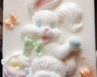 EASTER BUNNY SOAP, Here Comes Peter Cottontail, Easter Soap for the Easter Basket, Custom Scented, Custom Colored, Vegetable Based