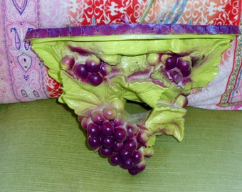 BOHO Hollywood regency vintage designer grape leaf shelf