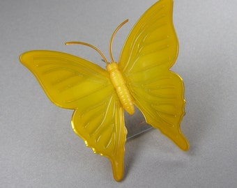 Vintage Butterfly Brooch, Danish Butterfly,  Signed, Ketty Dalsgaard, Translucent, Golden, Statement Brooch, 60's, Vintage Jewelry