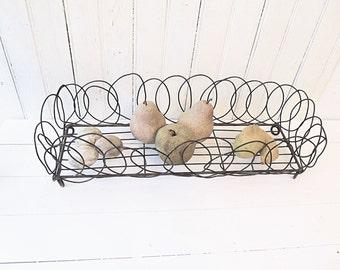Wire Basket - Long Primitive Rustic Wire Basket