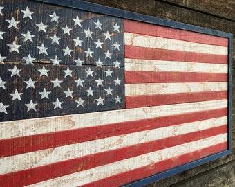 Rustic Wood American Flag  #552